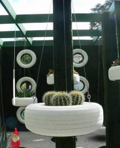 ways-reuse-old-tires-garden-hanging-planter-white-painted-cactus